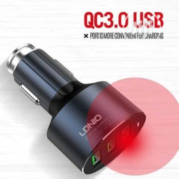 LDNIO C703q - 3 Ports Fast Car Charger With Type-c | Accessories for Mobile Phones & Tablets for sale in Ikeja, Lagos State, Nigeria