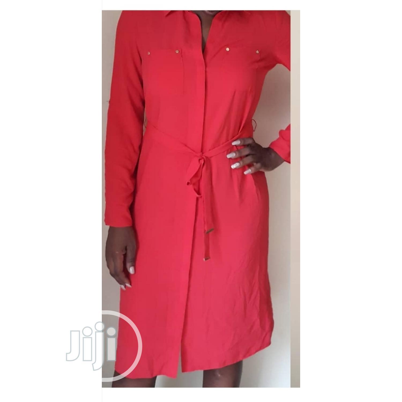 Red Chiffon Shirt Dress.