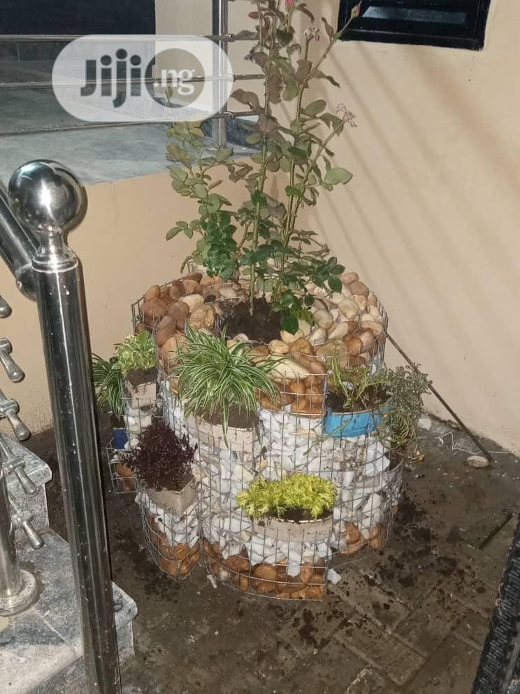 Flower Pot With Decorative Stone And Pebbles Bed