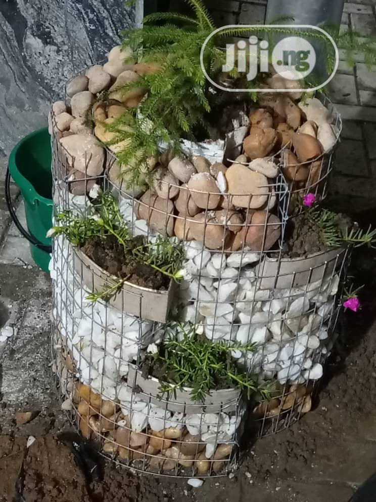 Flower Pot With Decorative Stone And Pebbles Bed | Garden for sale in Dei-Dei, Abuja (FCT) State, Nigeria