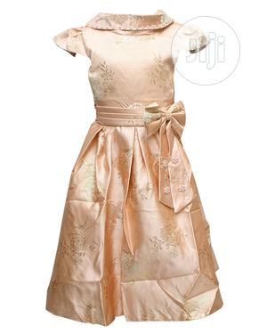 Girls Short Sleeve Ball Dress-Peach and Gold | Children's Clothing for sale in Lagos State, Ojota