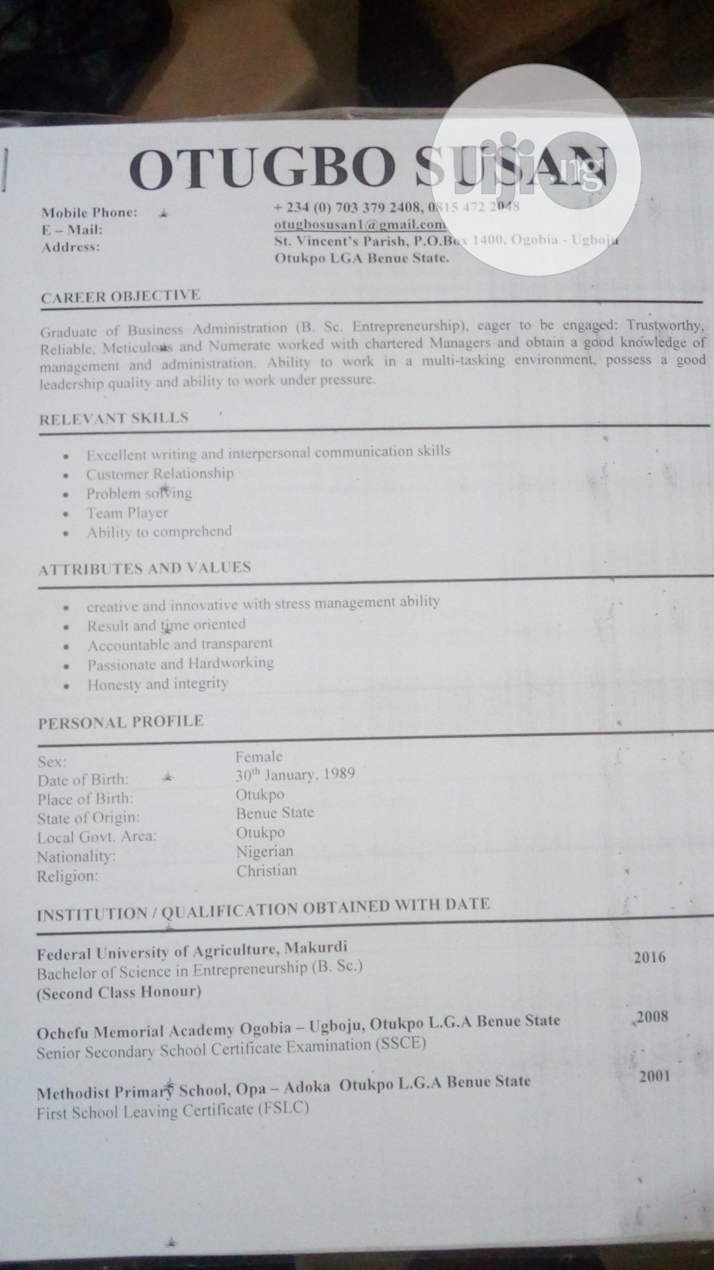 Clerical & Administrative CV | Clerical & Administrative CVs for sale in Keffi, Nasarawa State, Nigeria