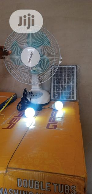 Rechargeable Table Fan With Solar Panel and 2 Bulbs   Home Appliances for sale in Lagos State, Oshodi