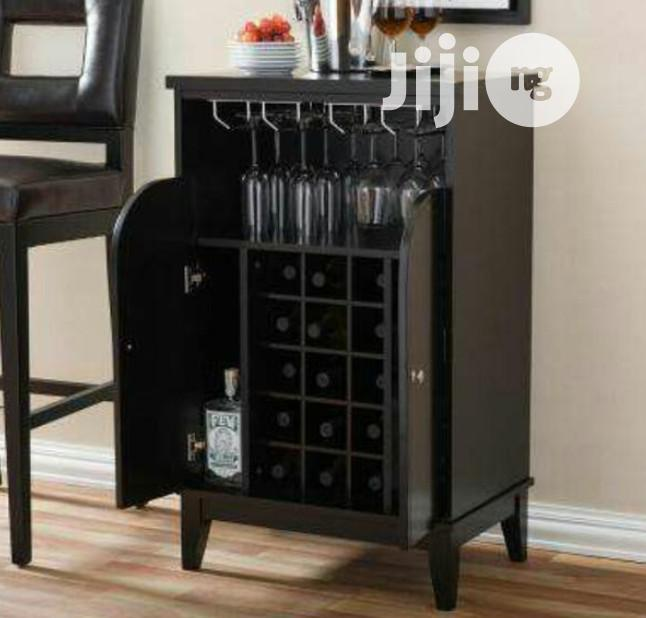 Coffee Brown Wine Bar With Wine Bottle Rack and Doors