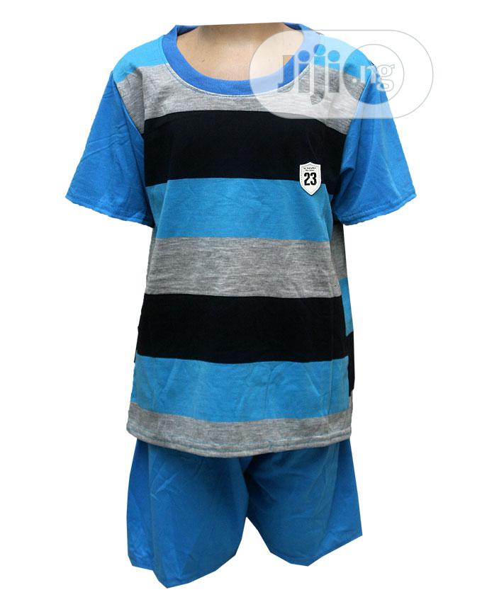 Boys Two Pcs Round Neck Top With Pants -yellow,Blue,Orange | Children's Clothing for sale in Ojota, Lagos State, Nigeria