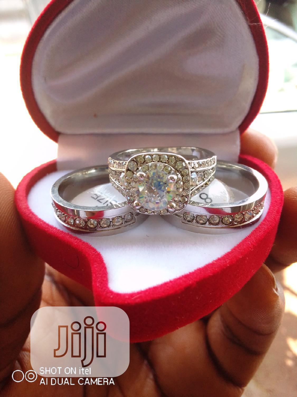 White Gold and Titanium Wedding Ring Set