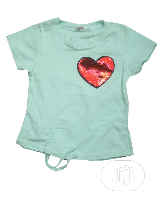 Girls Round Neck Top With Short Sleeve-Peach,Red,Yellow,Pink