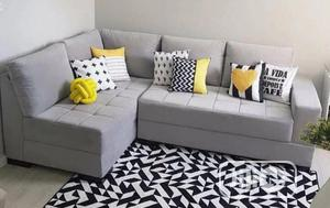 5 Seaters L-Shape Chairs With 6 Throw Pillowcase   Furniture for sale in Lagos State, Ikeja