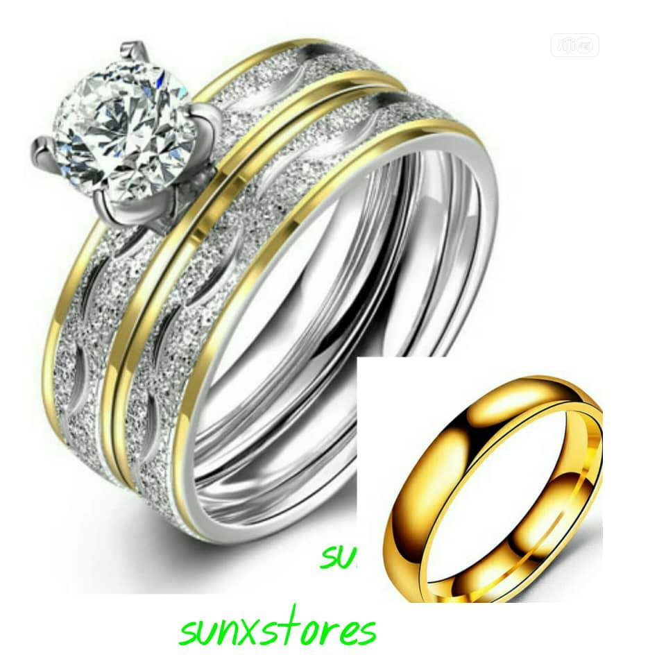 Couple Silver Gold Wedding Ring