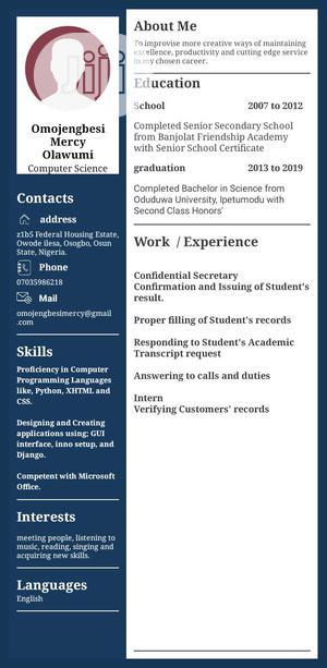 Computing & IT CV | Computing & IT CVs for sale in Oyo State, Ido