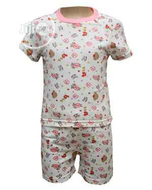 Baby Unisex Two Pcs of Top and Pants -Cream and Multi   Children's Clothing for sale in Lagos State, Ojota