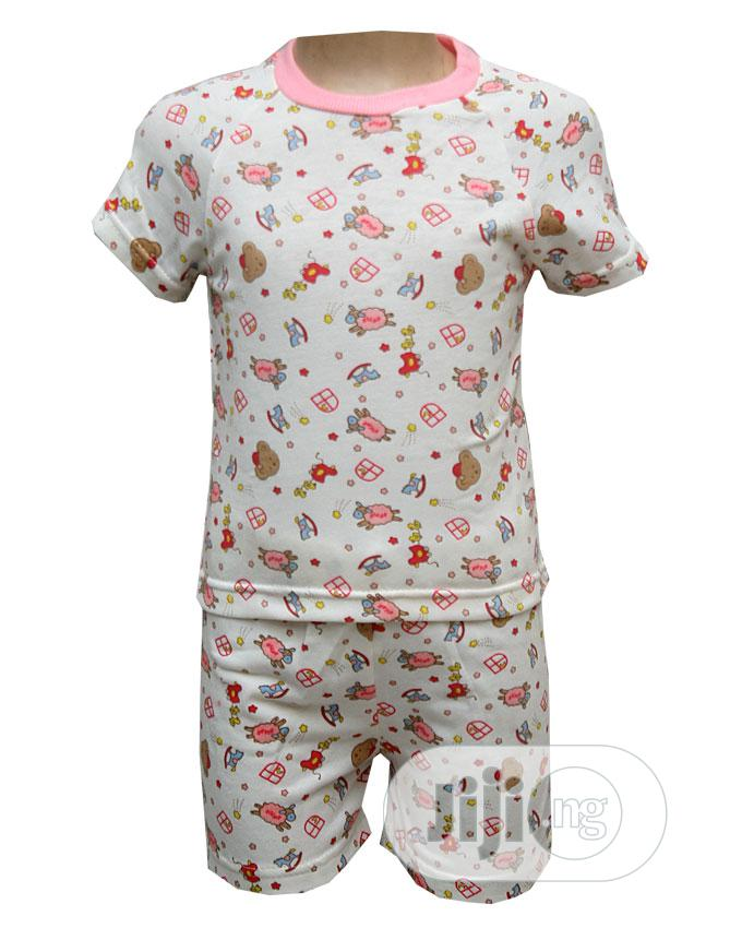 Baby Unisex Two Pcs of Top and Pants -Cream and Multi