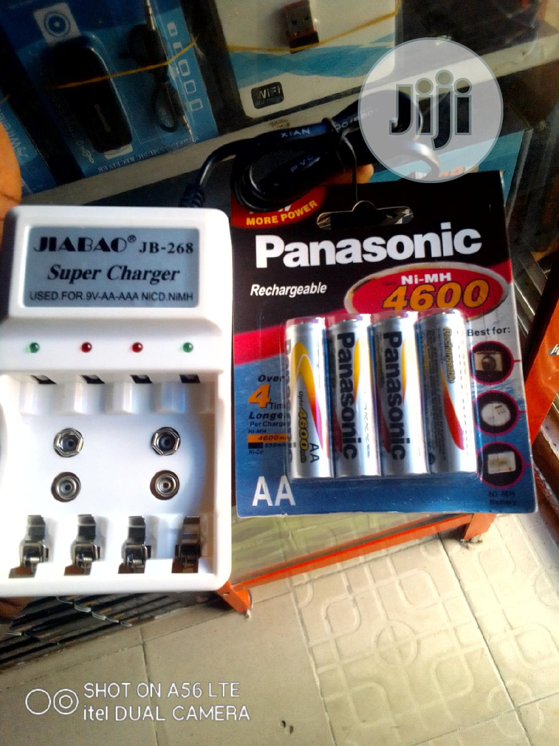 AA Panasonic Rechargeable Battery 4600mah + Charger | Accessories & Supplies for Electronics for sale in Ikeja, Lagos State, Nigeria