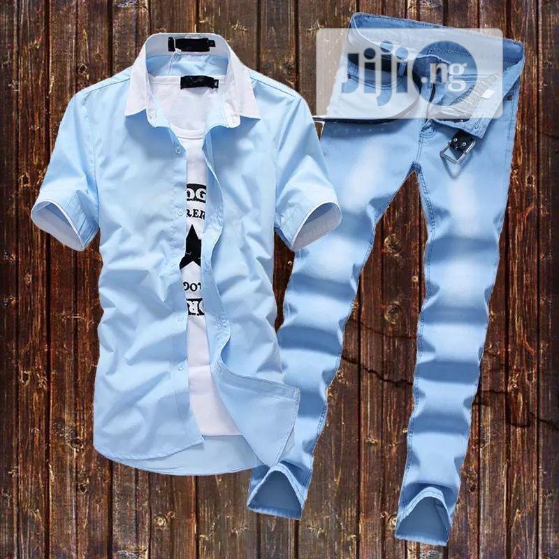 Men Denim Short-Sleeved Shirt, Jeans Fashion Casual Suit