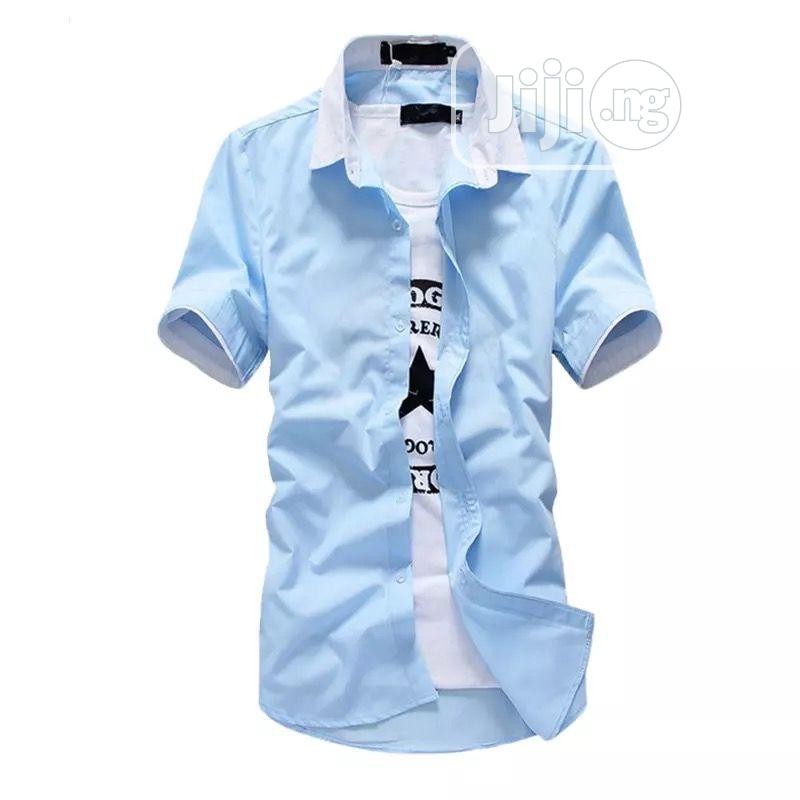 Men Denim Short-Sleeved Shirt, Jeans Fashion Casual Suit | Clothing for sale in Lagos Island (Eko), Lagos State, Nigeria