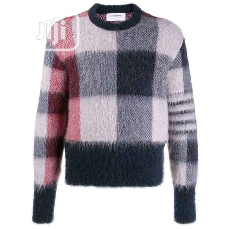 Thom Browne Buffalo Check Jacquard Crew Neck Jumper | Clothing for sale in Magodo, Lagos State, Nigeria