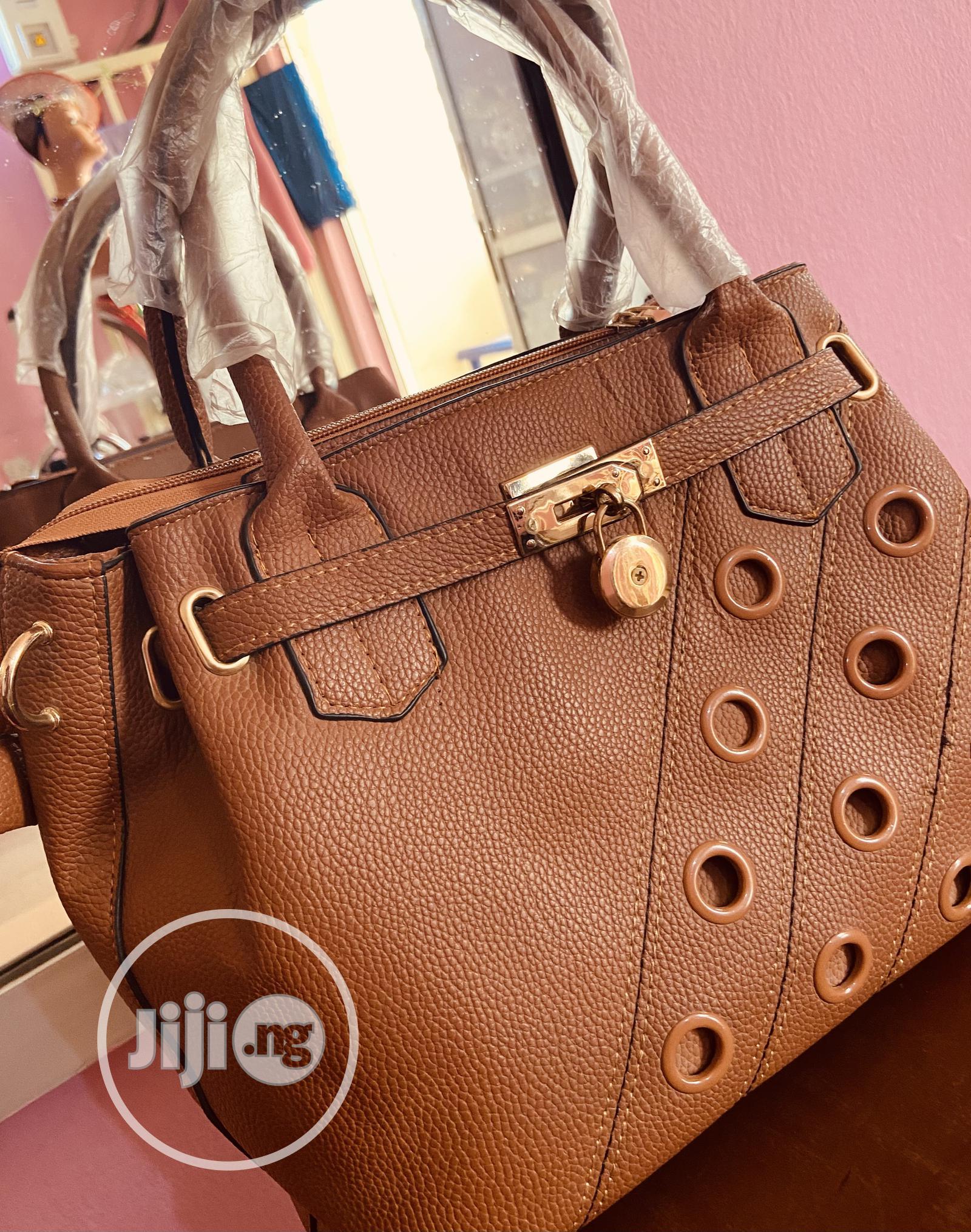 Brown Leather Designer Portable Handbag