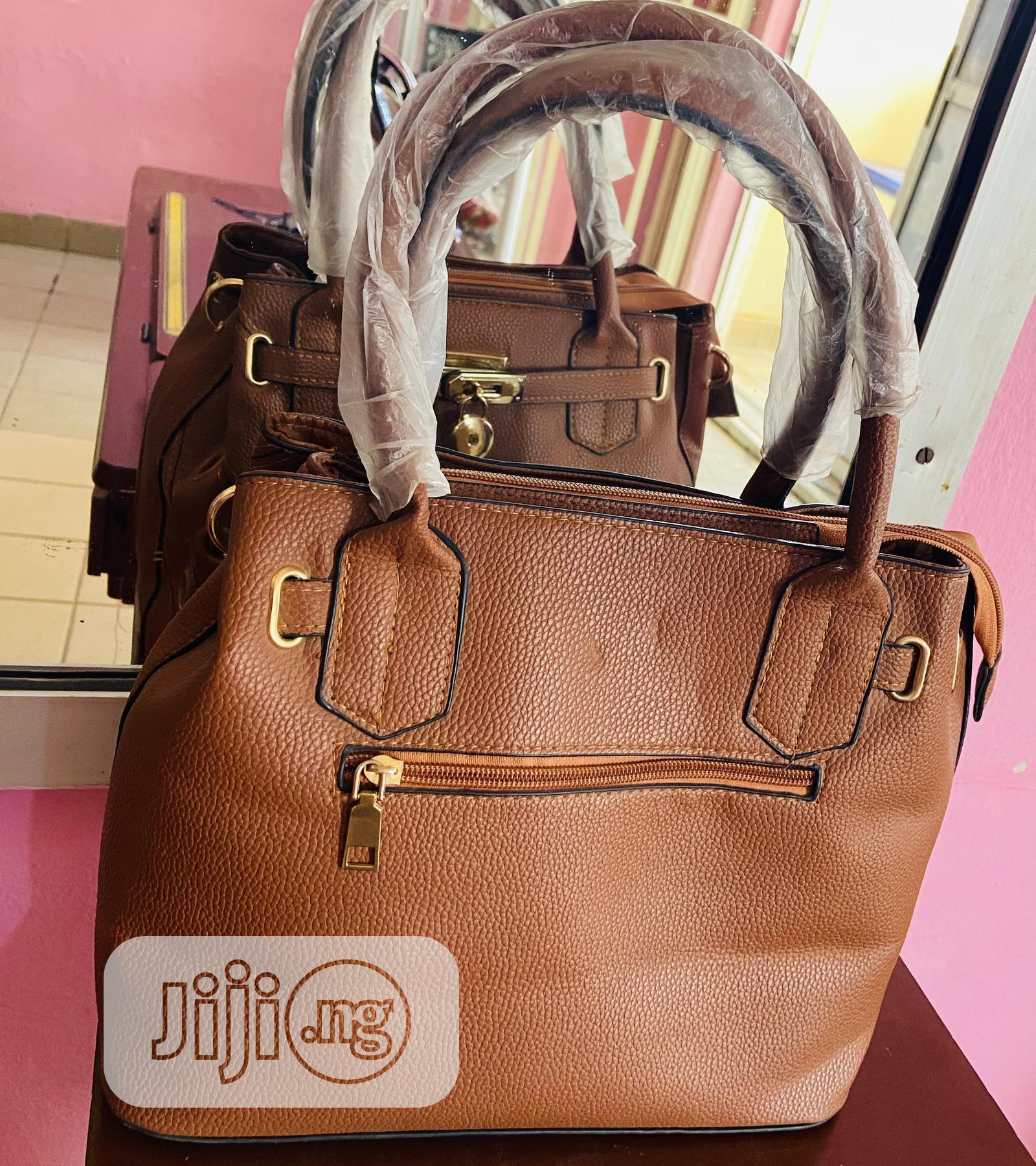 Brown Leather Designer Portable Handbag | Bags for sale in Kubwa, Abuja (FCT) State, Nigeria