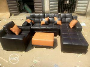 Modern L- Shaped Leather Sofa With Center Table | Furniture for sale in Lagos State, Ojodu