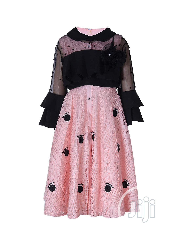Girl's 2 Piece Peach / Black Occasion Dress
