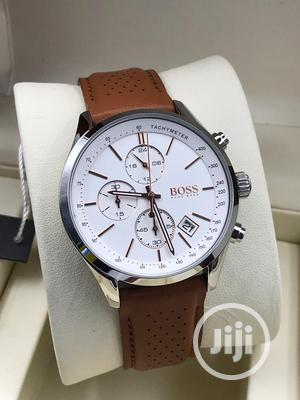 Boss Chronograph Silver Leather Strap Watch | Watches for sale in Lagos State, Lagos Island (Eko)
