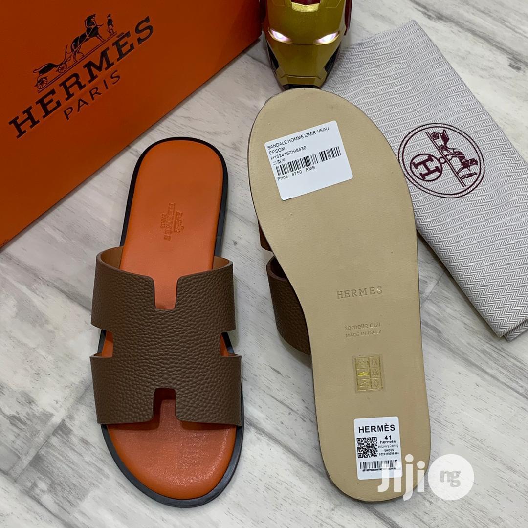 Archive: HERMES Izmir Sandal in Brown/Orange Leather