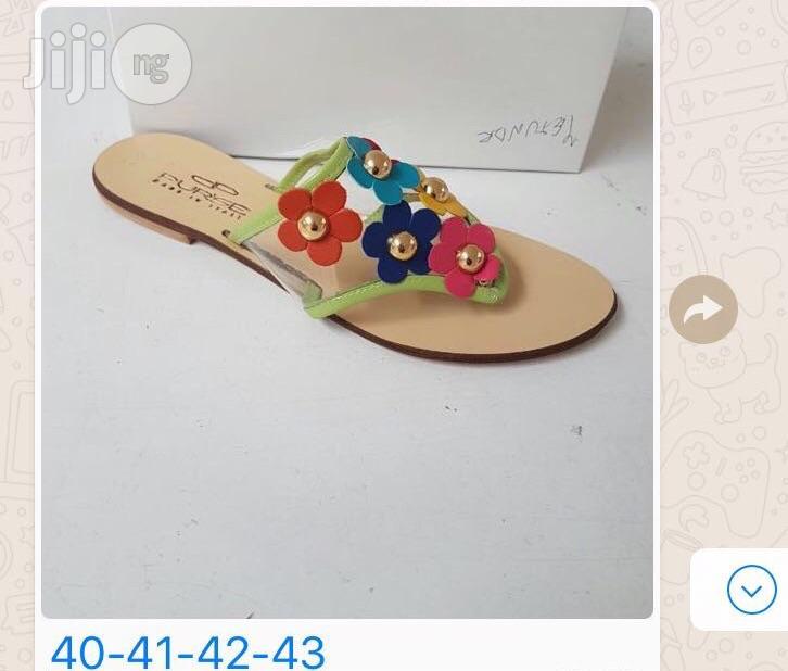 Ladies Italian Multi Coloured Low Heel Sandals