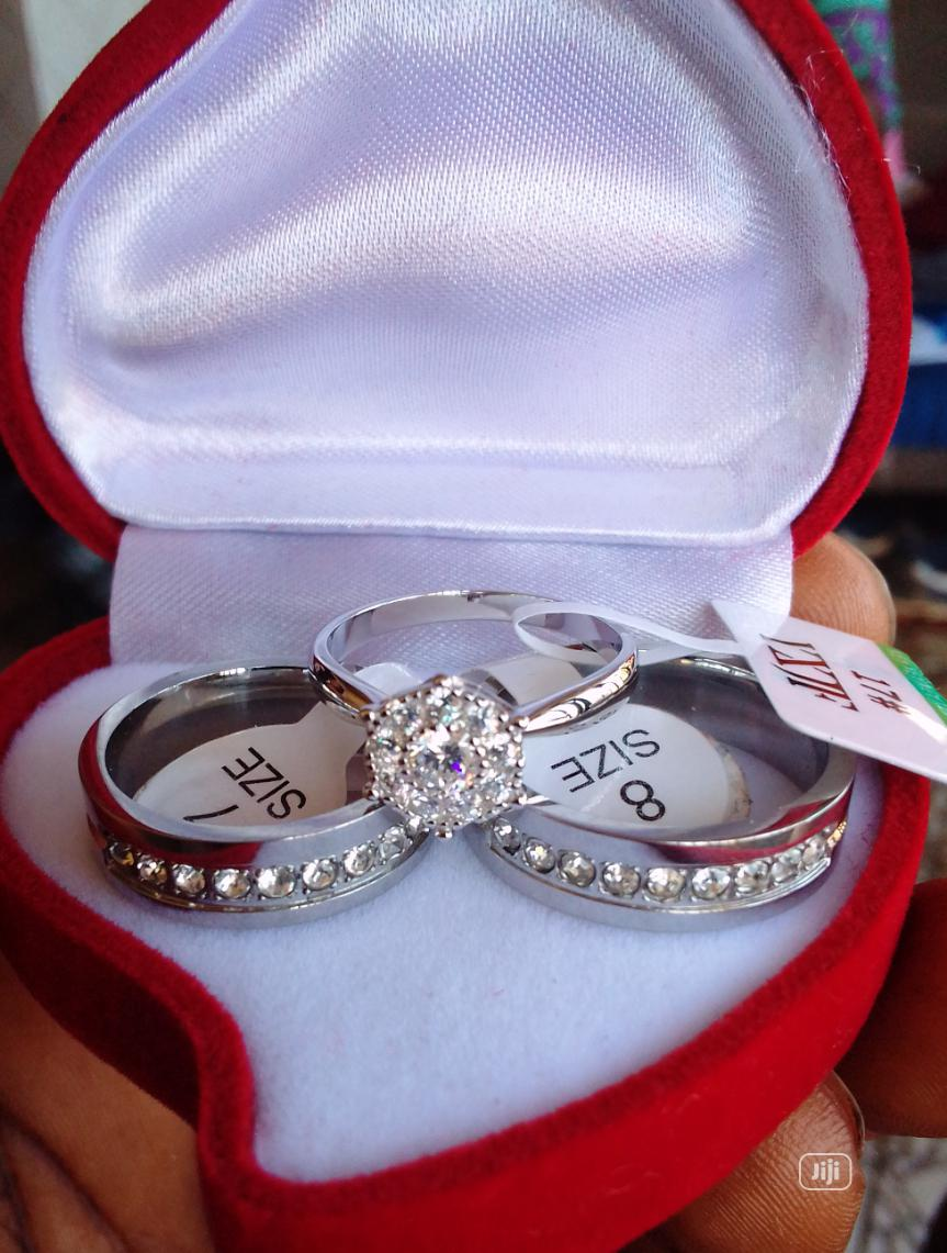 White Gold Engagement Ring and Titanium Wedding Ring Set