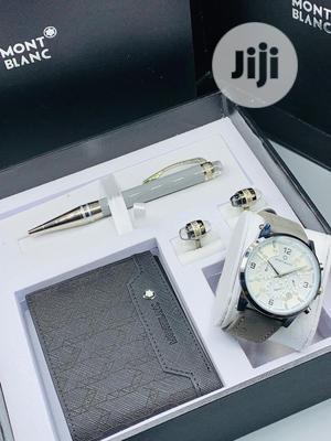 Montblanc Chrono Silver Leather Watch/Pen and Cufflinks   Watches for sale in Lagos State, Lagos Island (Eko)
