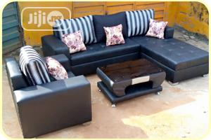 L-Shaped Leather Sofa With a Single and Center Table | Furniture for sale in Lagos State, Ojodu