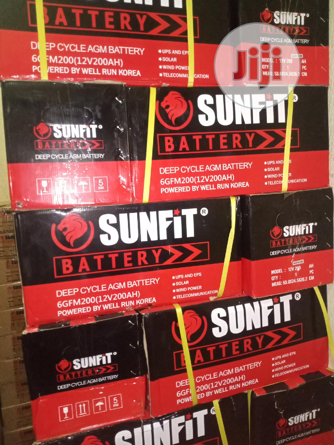 200ah 12V Sunfit Deep Cycle Solar Battery | Solar Energy for sale in Ojo, Lagos State, Nigeria