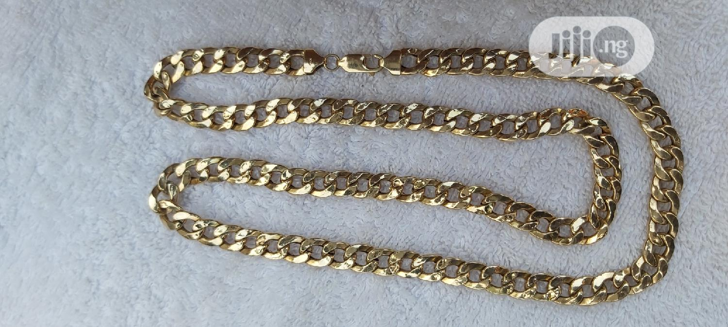 ITALY 750 Tested 18karat Solid Gold Necklace Cuban Design | Jewelry for sale in Amuwo-Odofin, Lagos State, Nigeria