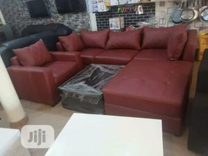 L- Shaped Leather Sofa With Center Table | Furniture for sale in Lagos State, Ojodu