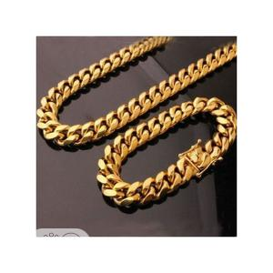 Gold Stainless Steel Cuban Link Necklace + Bracelet | Jewelry for sale in Lagos State, Surulere
