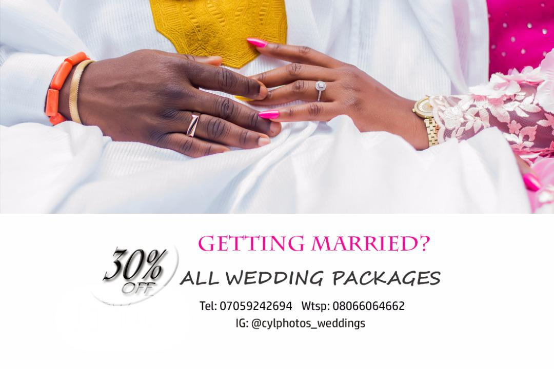 30% Off Our Wedding Packages