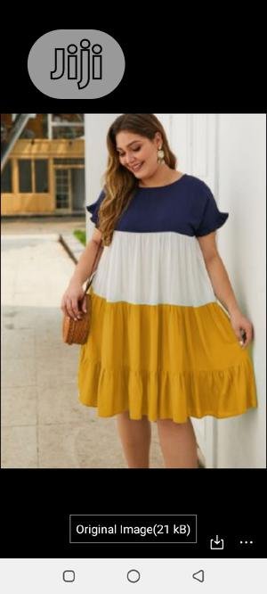 Mixed Color Casual Loose Mini Dresses for Plus Size Women | Clothing for sale in Lagos State, Ajah