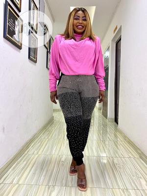 Pink Shoulder Padded Top X Leggings | Clothing for sale in Lagos State, Lekki