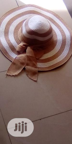 White And Gold Strip Round Beach Hat | Clothing Accessories for sale in Lagos State, Ibeju