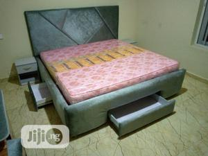 6by6 Feet Bed With Attached Drawers and Bedside Cupboards   Furniture for sale in Lagos State, Agege