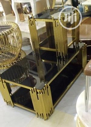 Super Quality Gold Centre Table And Two Side Stools | Furniture for sale in Lagos State, Lagos Island (Eko)