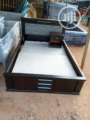 4 and Half by 6 Feet Bed Frame With Bedside Drawer   Furniture for sale in Lagos State, Ikorodu
