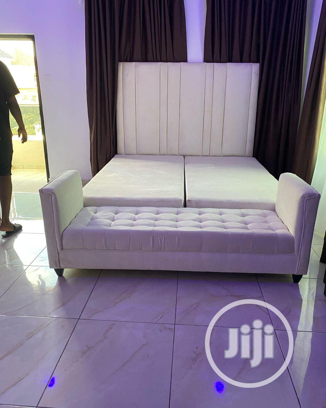 6 by 6 Bed With Ottoman Chair. | Furniture for sale in Lekki, Lagos State, Nigeria