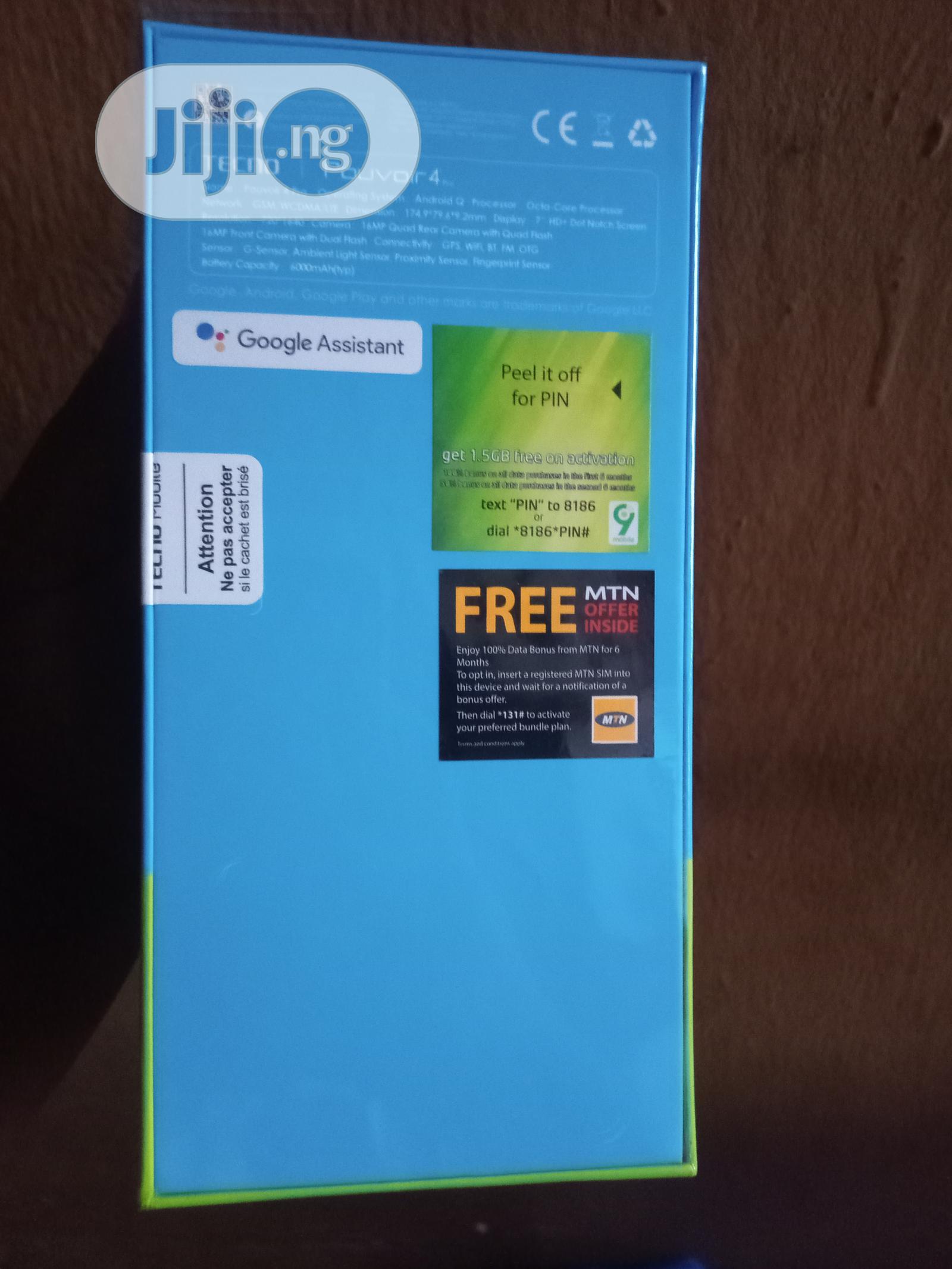 New Tecno Pouvoir 4 Pro 128 GB Blue   Mobile Phones for sale in Ikeja, Lagos State, Nigeria