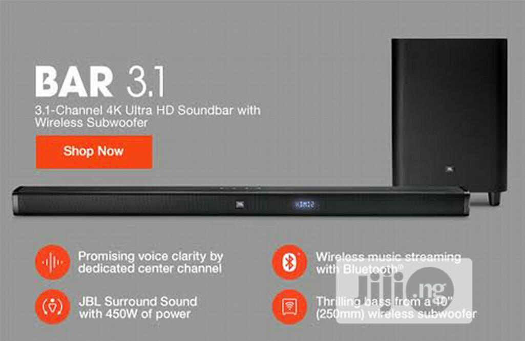 JBL Bar 2.1 450W 4k Ultra HD Soundbar System | Audio & Music Equipment for sale in Ikeja, Lagos State, Nigeria