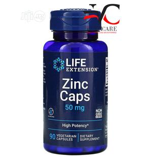Life Extension Zinc Caps High Potency 50mg 90 Veg Capsules | Vitamins & Supplements for sale in Lagos State, Ojo