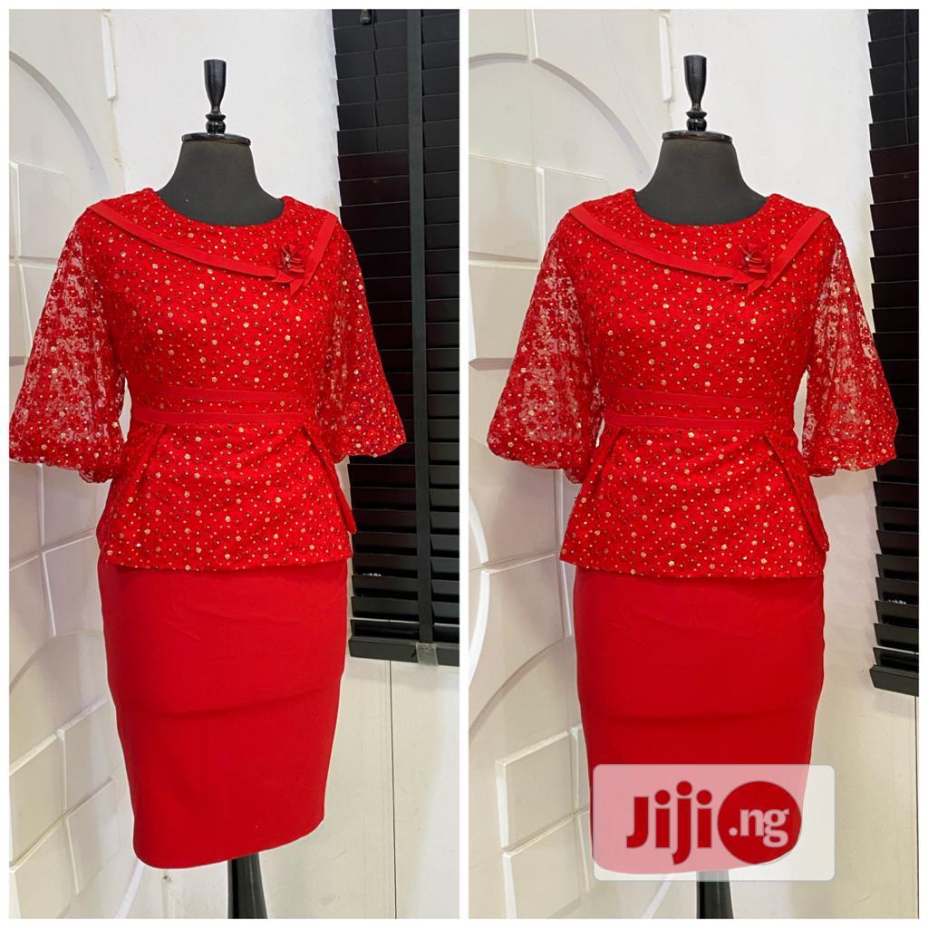 Red Peplum Dress   Clothing for sale in Gwarinpa, Abuja (FCT) State, Nigeria