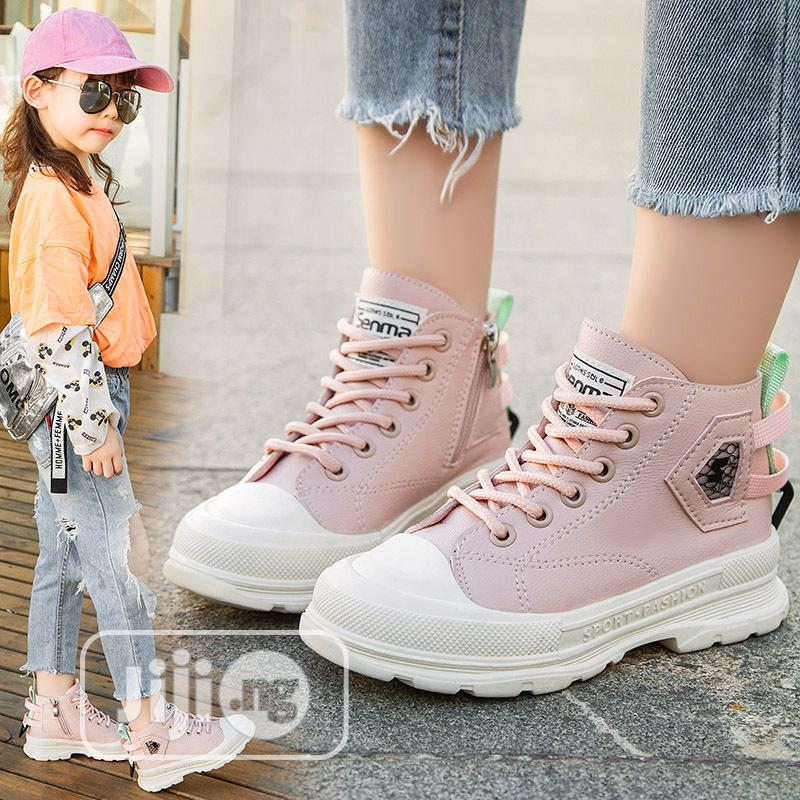 Girls Pink High Top Sneakers