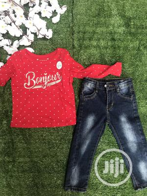 2pcs Set Kid Baby Girl Outfit T-shirt+Long Jeans Clothes | Children's Clothing for sale in Oyo State, Ibadan