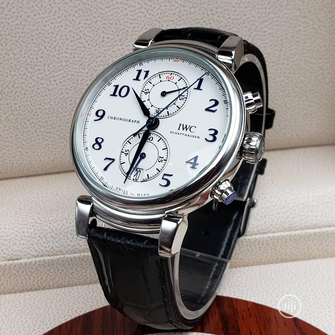 IWC Chronograph Silver Leather Strap Watch