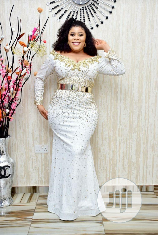 New Female Turkey Quality Luxury Fully Stoned Long Dress